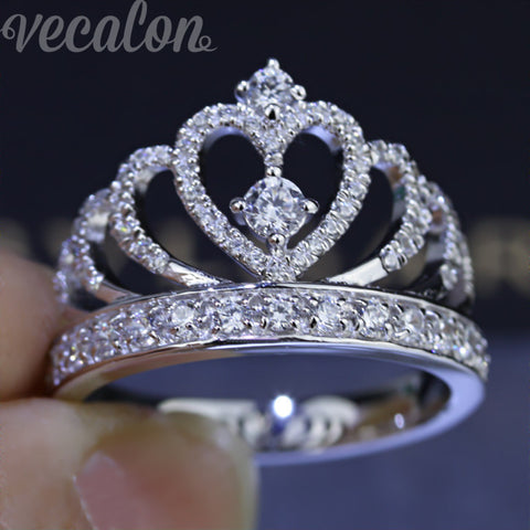 Vecalon 2016 Female Crown ring AAAAA Zircon Cz 925 Sterling Silver Engagement wedding Band ring for women-Jewelries-Devices Depot-5-KoolWish.com
