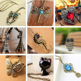 Vintage Necklaces Women Owl Feather Heart Butterfly Cat Pendant Necklace Antique Collares Fashion Jewelry Bijoux One Direction-Necklaces-Devices Depot-KoolWish.com