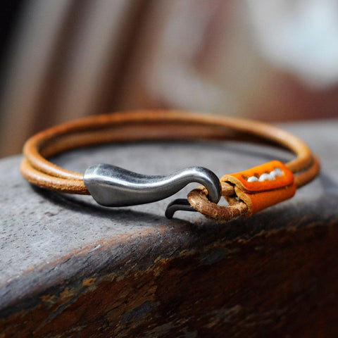 Wholesale Vintage ewelry bracelets for women bangles,punk genuine leather bracelet men wrap Men bracelet-Devices Depot-Orange-KoolWish.com
