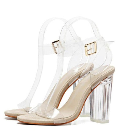 Women Sandals Ankle Strap Perspex High Heels PVC Clear Crystal Concise Classic Buckle Strap High Quality Fashion Shoes Woman-Devices Depot-Khaki-4-KoolWish.com
