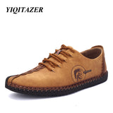 YIQITAZER 2017 New Arrival Nubuck Leather Shoes Men,Lace Fashion Summer Brand Dress Shoes Mens Flats Yellow Black Size 6.5-9.5-Devices Depot-BLACK-6.5-KoolWish.com