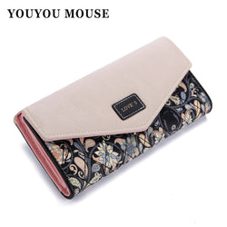 YOUYOU MOUSE Envelope Women Wallet Hit Color 3Fold Flowers Printing 5Colors PU Leather Wallet Long Ladies Clutch Coin Purse-Devices Depot-KoolWish.com