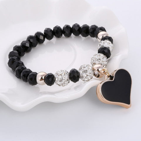 ZOSHI 2017 Crystal Butterful Bracelet & Bangle Elastic Heart Bracelets For Women Handmade Shambhala Beads pulseira masculina-Devices Depot-SL740A-KoolWish.com