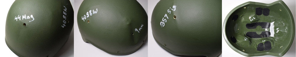Pictures of ARCH ballistic helmet tested against .44 Magnum, 40 S&W, .357 SIG and 9 mm