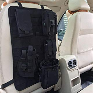 Tactical MOLLE car seat back organizer hanging behind the driver's seat