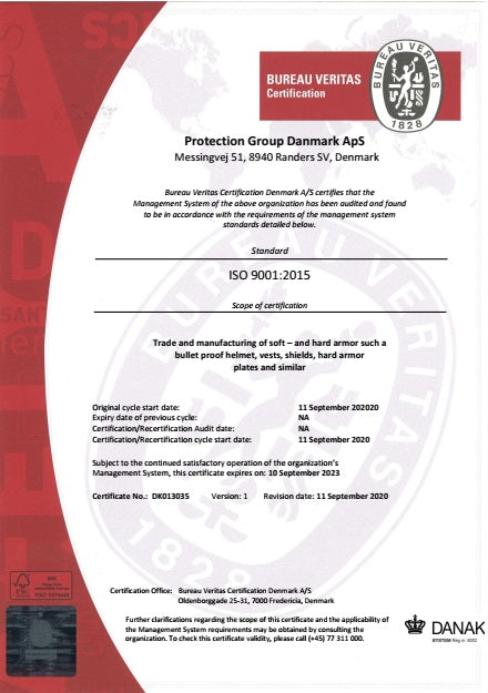 ISO 9001:2015 certification of Protection Group Denmark