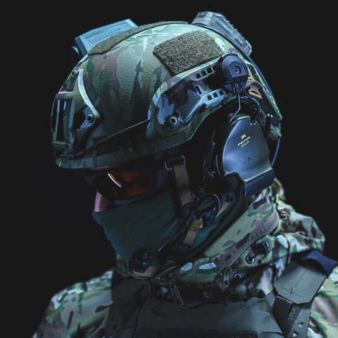 Soldier wearing the PGD ARCH ballistic helmet with accessories
