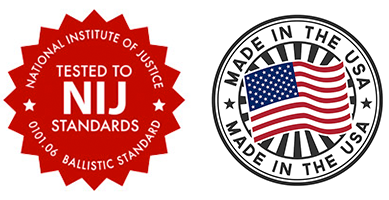 two badges: one says Tested to NIJ standards, the other Made in the USA