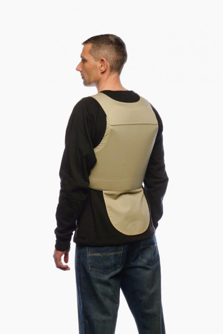 Model showing the back side of the Blade Runner Anti-Stab Covert Vest