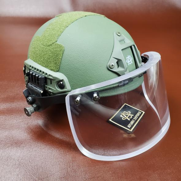 Atomic Defense 3A Ballistic Helmet with Bulletproof Visor for Helmets | Ballistic Riot Helmet Faceguard