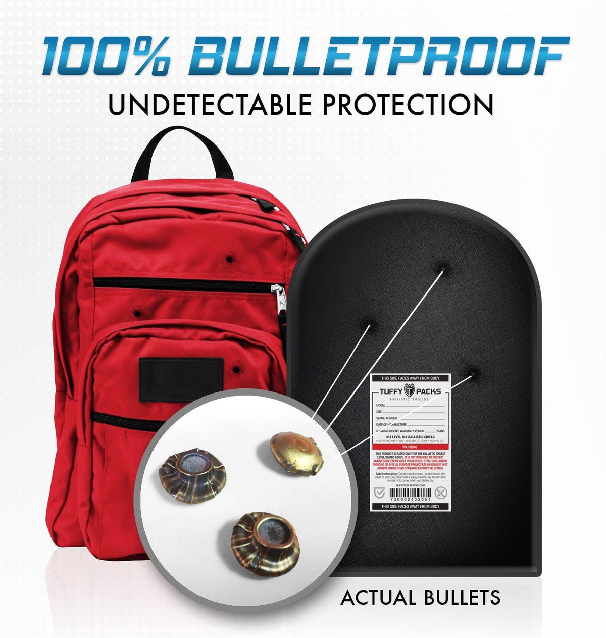 "TuffyPacks 12"" x 18"" Ballistic Shield Level IIIA Bulletproof Backpack Insert"