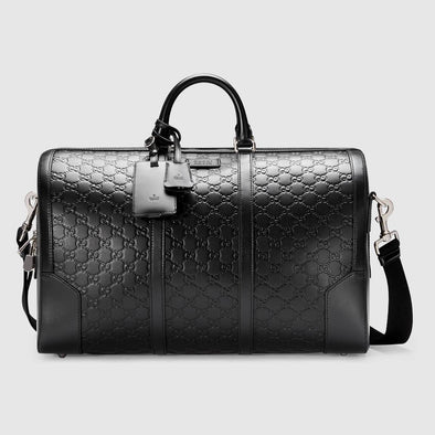 Gucci Level IIIA Bulletproof Men's Signature Black Leather Duffle