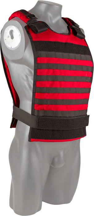 Front view of the North American Rescue Tactical Responder Vest MKII in EMS Red