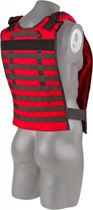 Back view of the North American Rescue Tactical Responder Vest MKII in EMS Red