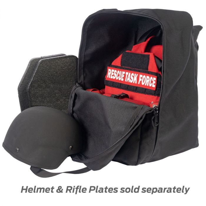 North American Rescue PH2 Shooters Cut Rescue Task Force Vest Kit in EMS Red inside a nylon carry bag, helmet, and 2 armor plates