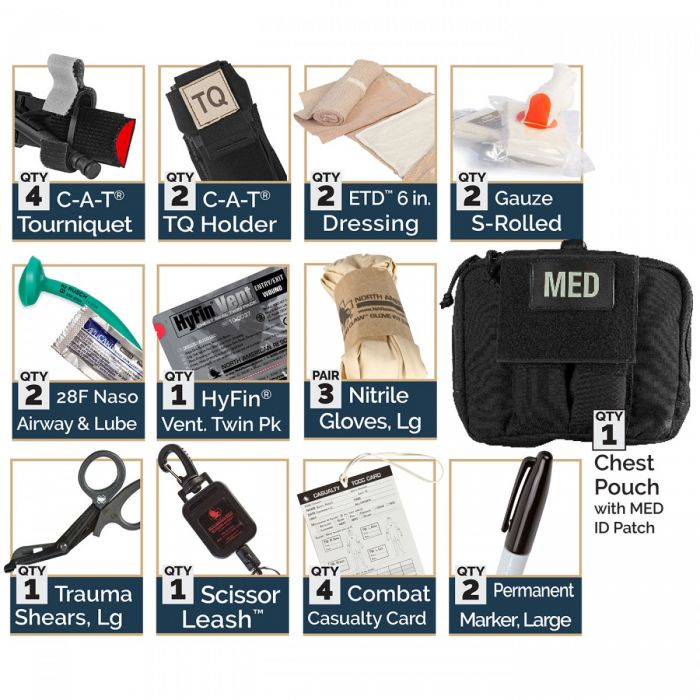 North American Rescue PH2 Shooters Cut Rescue Task Force Vest Kit Medical chest pouch contents