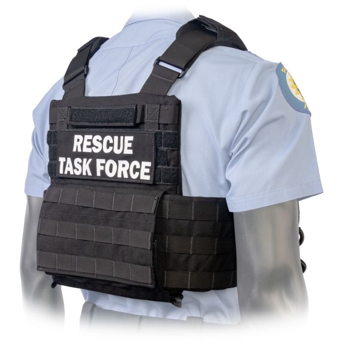 Back view of the North American Rescue PH2 Shooters Cut Rescue Task Force Vest Kit in Black
