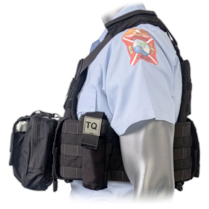 Side view of the North American Rescue PH2 Shooters Cut Rescue Task Force Vest Kit in Black