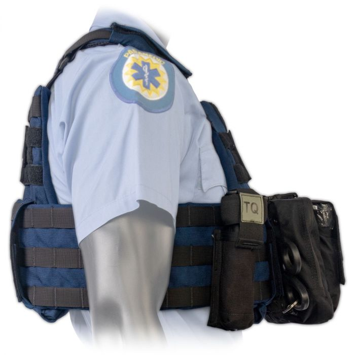 Side view of the North American Rescue PH2 Shooters Cut Rescue Task Force Vest Kit in Blue