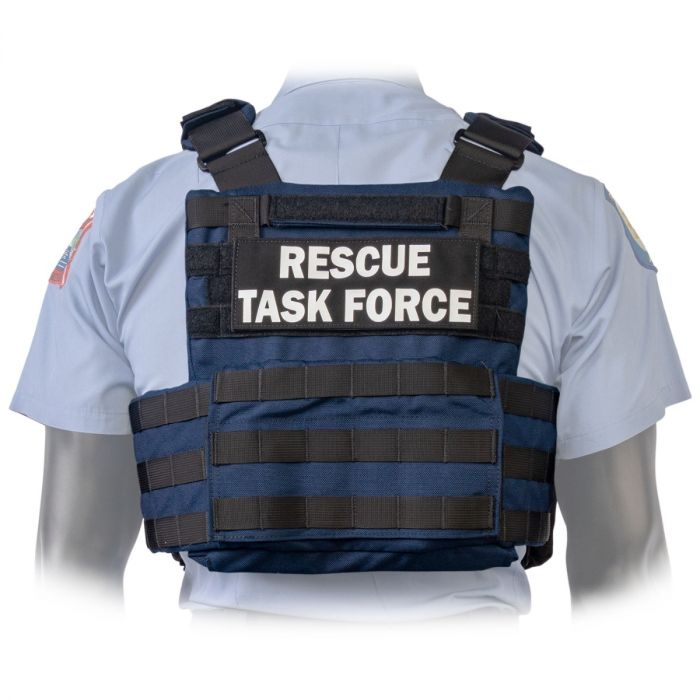 Back view of the North American Rescue PH2 Shooters Cut Rescue Task Force Vest Kit in Blue