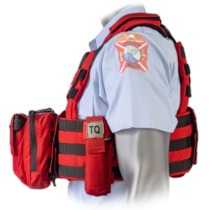 Side view of the North American Rescue PH2 Shooters Cut Rescue Task Force Vest Kit in EMS Red