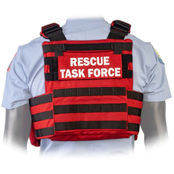 Back view of the North American Rescue PH2 Shooters Cut Rescue Task Force Vest Kit in EMS Red