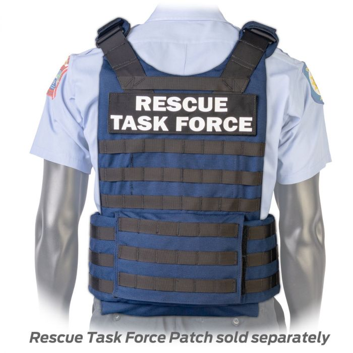 Back view of the North American Rescue PH3 Ballistic Tactical Plate Harnesses with Cummerbund in Blue