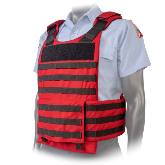 North American Rescue PH3 Ballistic Tactical Plate Harnesses with Cummerbund in EMS Red