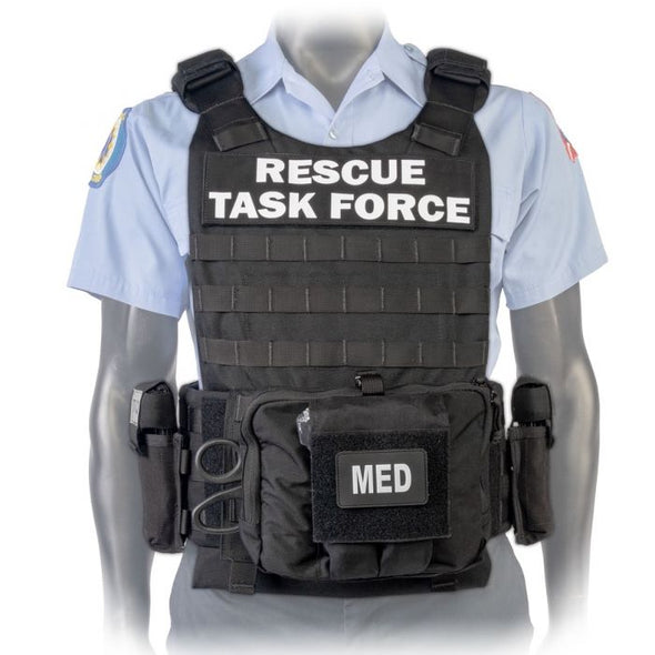 Mannequin wearing a North American Rescue PH3 (RTF) Rescue Task Force Vest Kits in Black