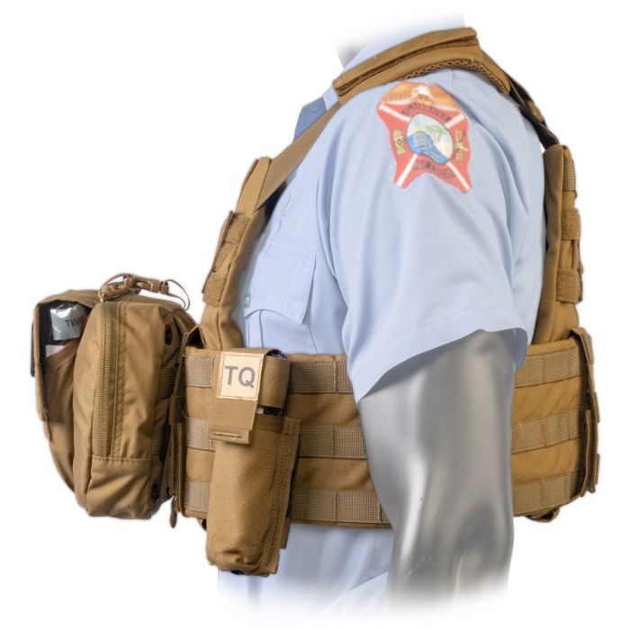 Side view of the North American Rescue PH2 Shooters Cut Rescue Task Force Vest Kit in Coyote