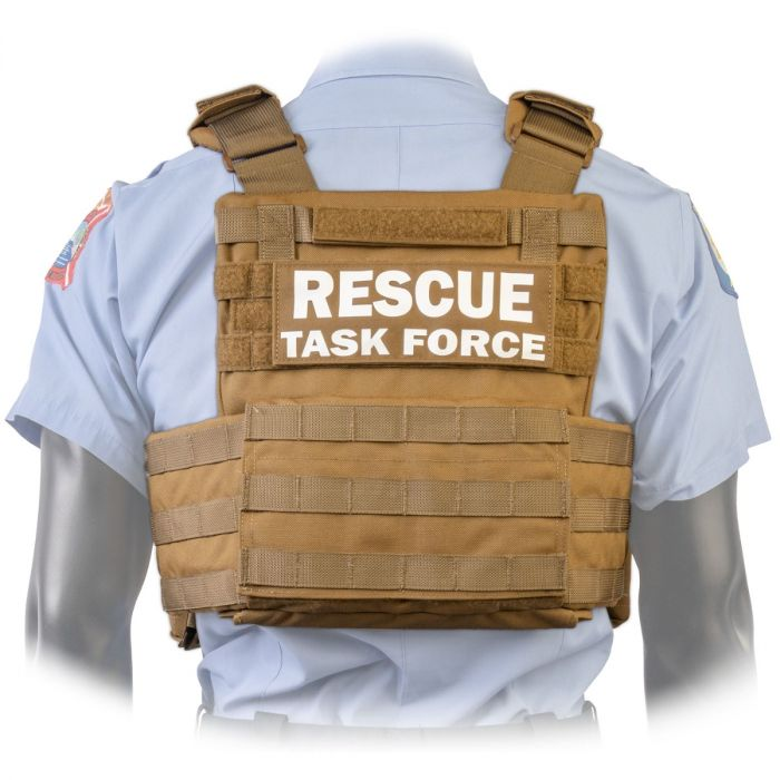 Back view of the North American Rescue PH2 Shooters Cut Rescue Task Force Vest Kit in Coyote