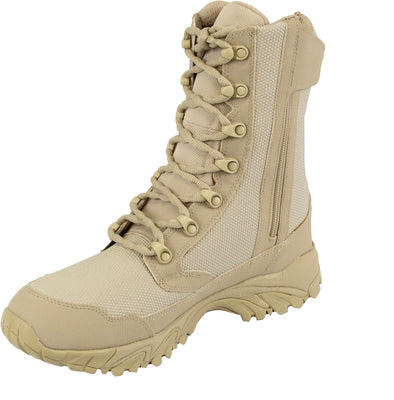 "ALTAI Tan Combat Waterproof Zip Up 8"" Boots (MFM100-Z)"