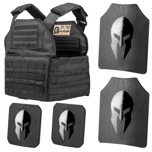 Spartan Armor Systems Level III Shooters Cut Plate Carrier Package in Black