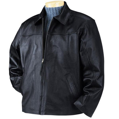 BulletBlocker Level IIIA Men's Black Bulletproof Leather Jacket