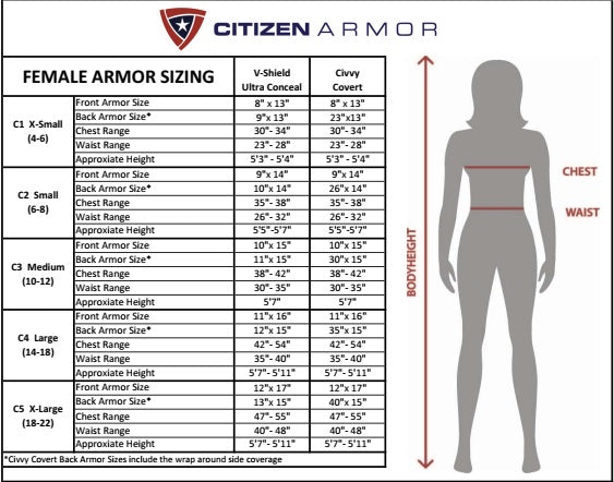 Citizen Armor V-Shield Ultra Conceal Female Vest sizing chart