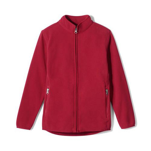 Red fleece bulletproof jacket with front zipper and two side zipper pockets