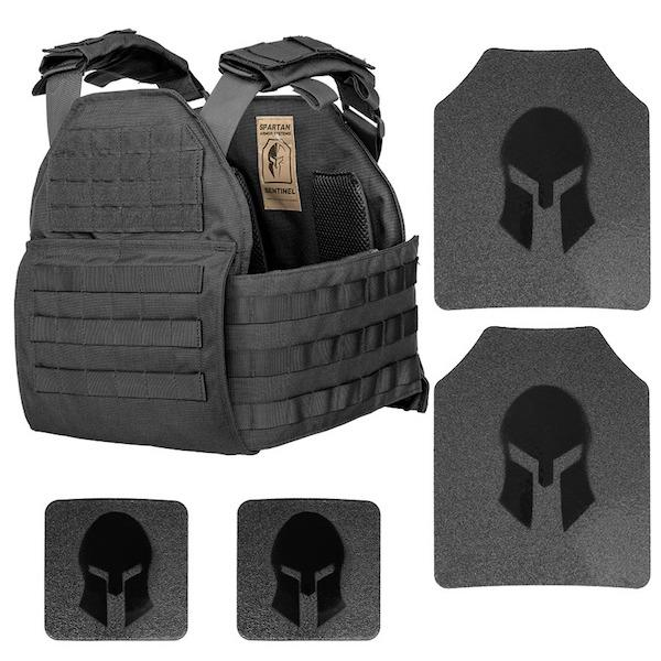 Spartan Armor AR550 Level III+ Body Armor & Sentinel Plate Carrier Package in Black