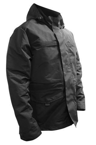 Black windbreaker jacket with front zipper and velcro chest pockets
