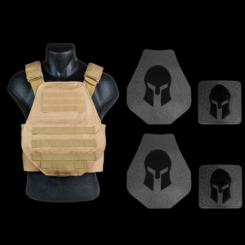 Spartan Armor AR550 Body Armor Swimmers Cut and Spartan Plate Carrier Entry Level Package