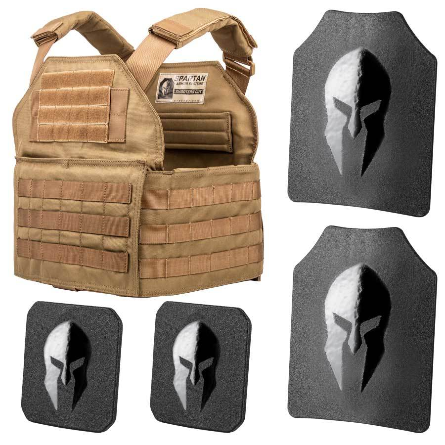 Spartan Armor AR550 Level III+ Shooters Cut Plate Carrier Package in Tan