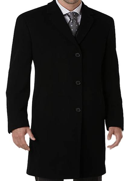 Front button black wool peacoat