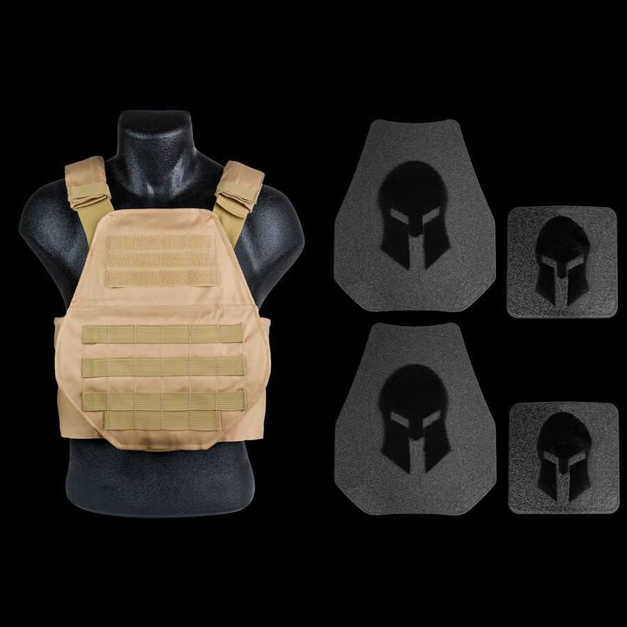 Spartan Armor Systems Level III Swimmers Cut Plate Carrier Package in Tan
