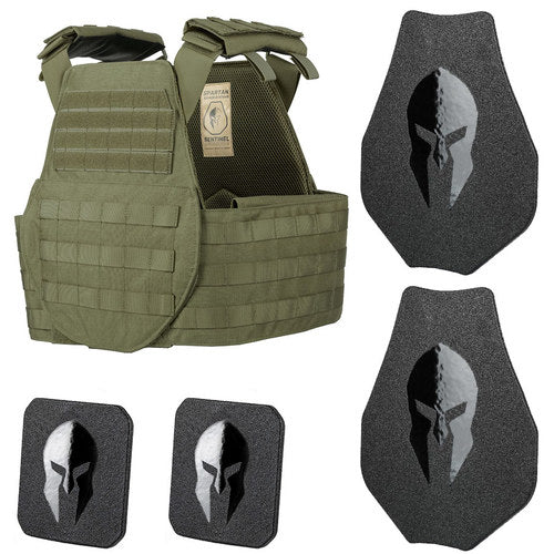 Spartan Armor AR550 Level III+ Body Armor and Sentinel Swimmers Plate Carrier Package in Spartan Green