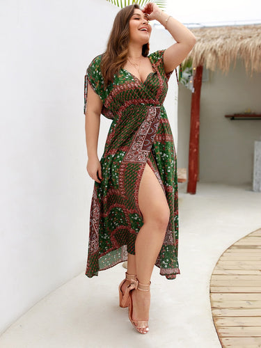 Plus Tribal Print Knot Cuff Surplice Front Dress
