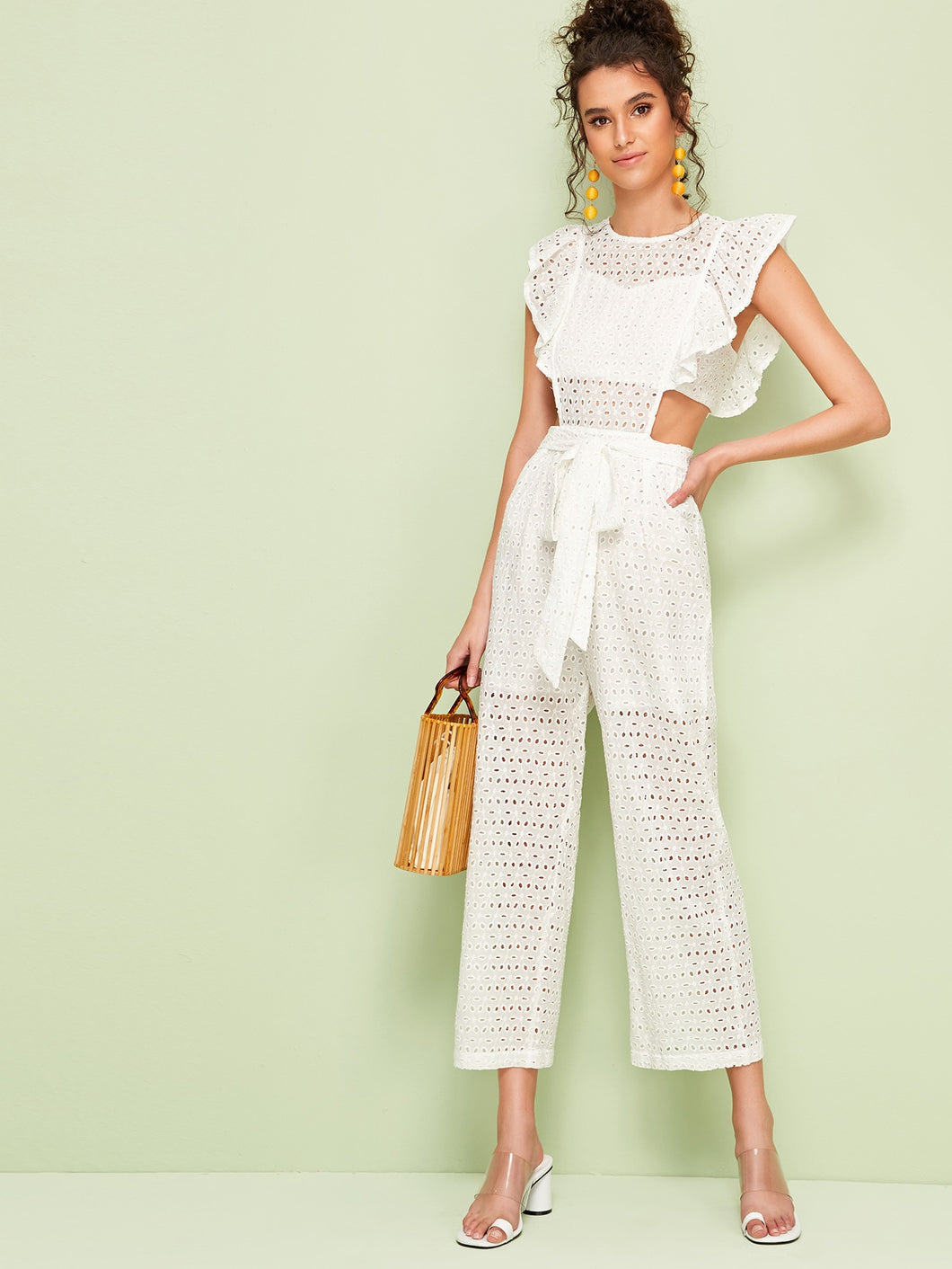 Roslyn Embroidery Ruffle Trim Jumpsuit