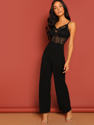 Button Front Contrast Lace Sheer Jumpsuit