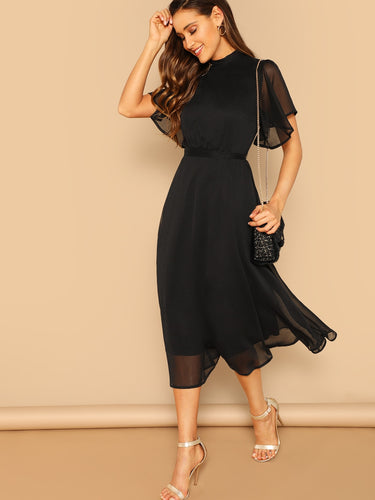 Mock-neck Knot Back Sheer Panel Dress