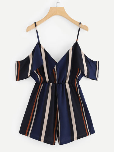V Neckline Open Shoulder Striped Romper