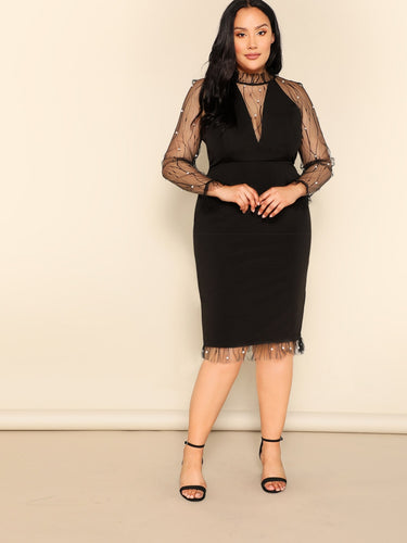 Plus Pearl Beaded Sheer Mesh Insert Pencil Dress