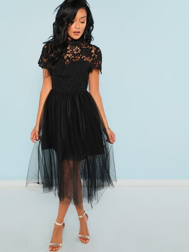 Guipure Lace Top Tulle Dress